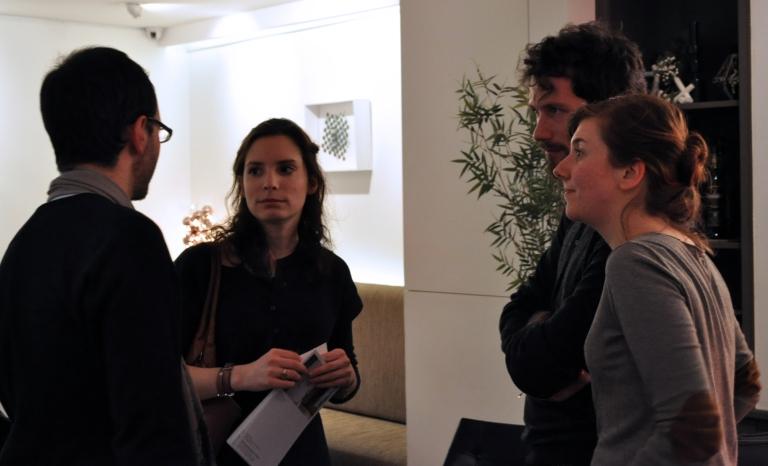 Guillaume (Carpe Webem), Pauline Daniez (Galerie Daniez & de Charette), Benoît Blanchard et Elodie Voillot, doctorants en art