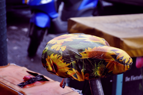 Amsterdam selle de vélo tournesols