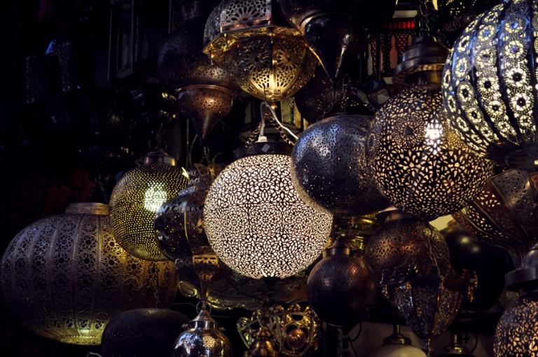 Lampes marocaines, souk de Marrakech