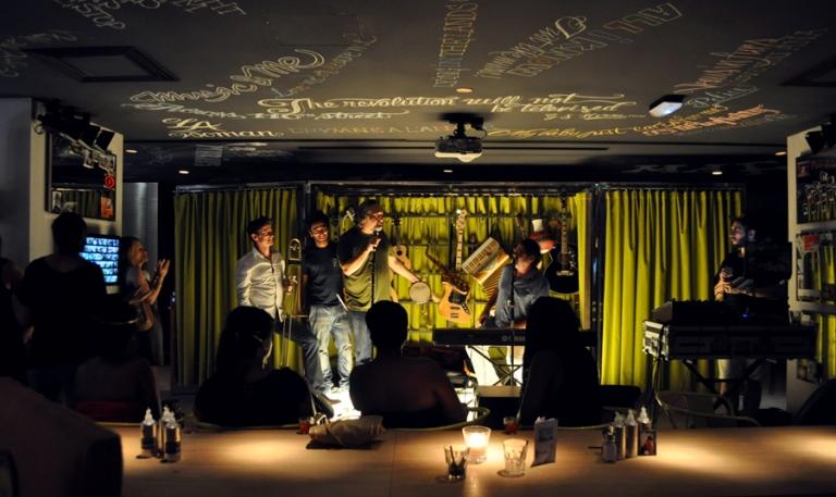 Concert au bar de l'hôtel Mama Shelter, Marseille, France