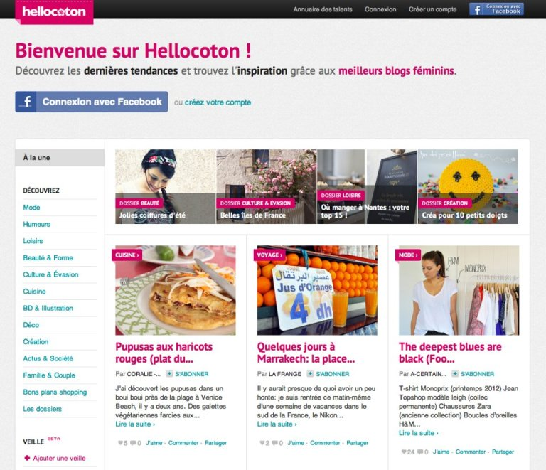 Le blog de La Frange en Une de Hellocoton
