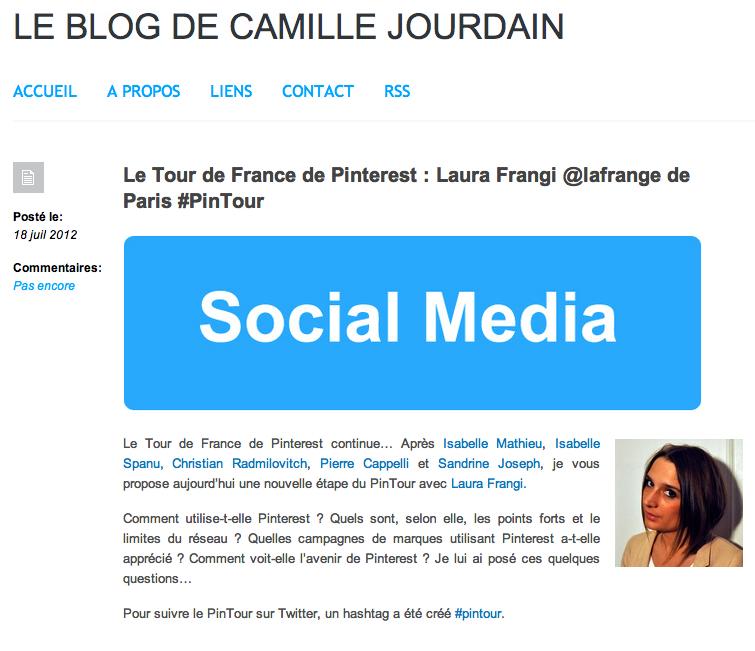 Laura Frangi sur le blog de Camille Jourdain